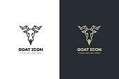 Stylized geometric Goat head illustration. Vector icon design