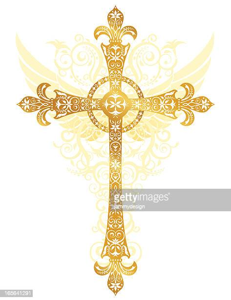 stylized gold cross - crucifix stock illustrations, clip art, cartoons, & icons