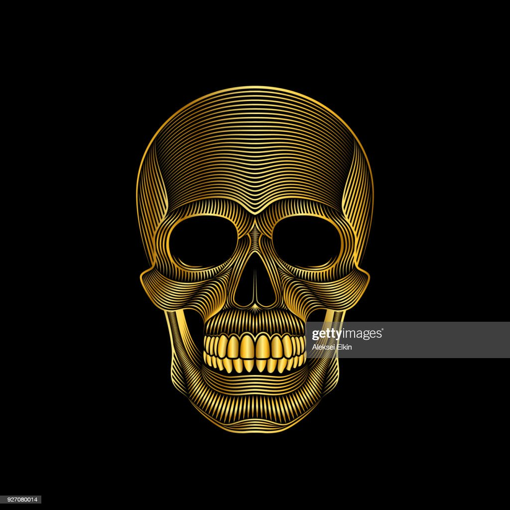 Stylized golden skull on black background
