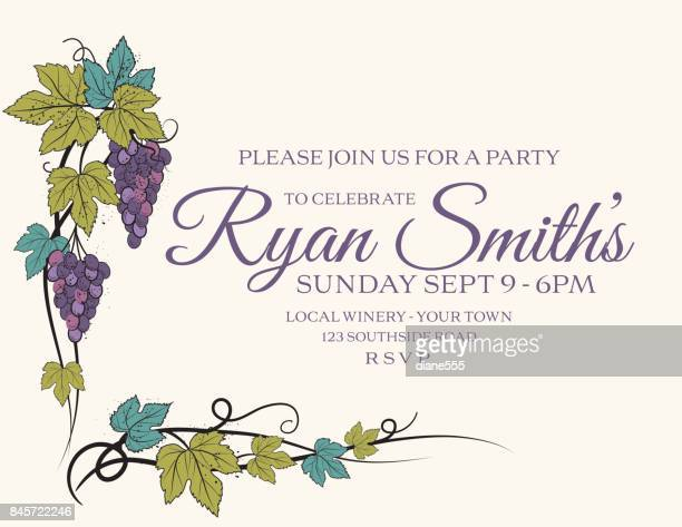 stylized grapevine frame with grapes, leaves and vines - grape stock illustrations, clip art, cartoons, & icons