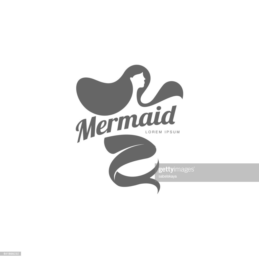 Stylized graphic icon template with long haired mermaid turned profile