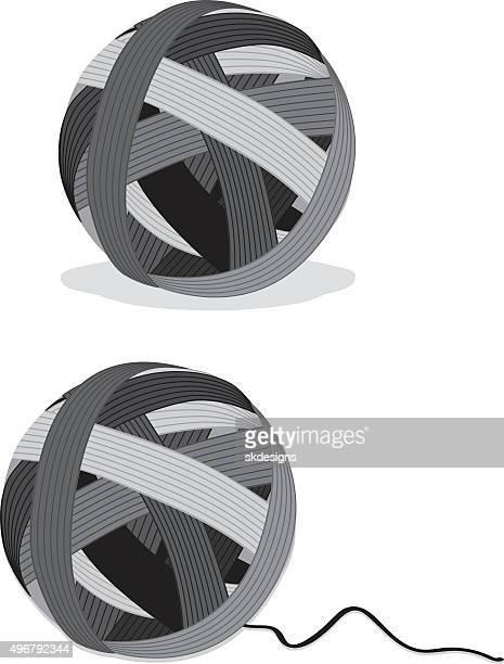 Estilizadas y escala de grises pelotas de fibra, icono