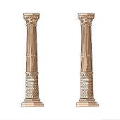 Stylized Greek doodle column Doric Ionic Corinthian columns. Vector illustration. Classical architecture