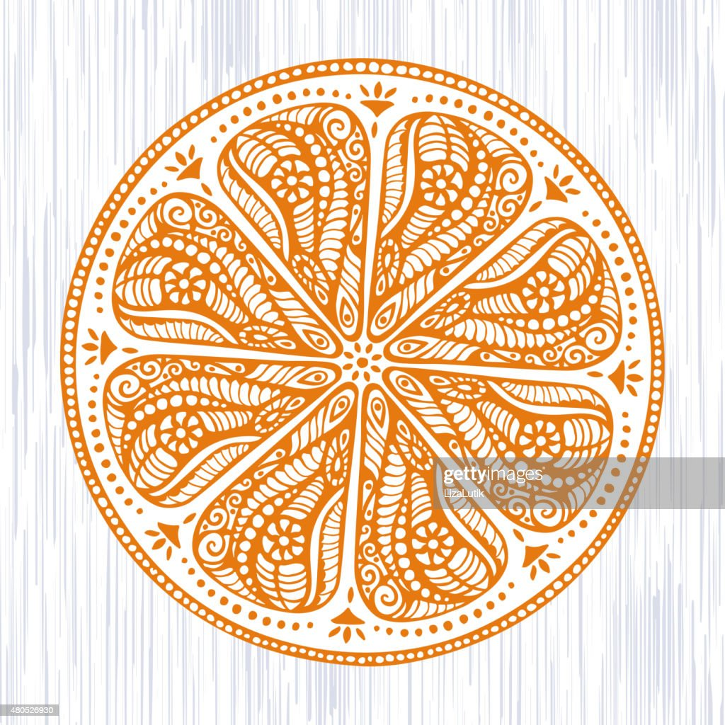 Stylized Hand Drawn Orange Illustration : Vector Art