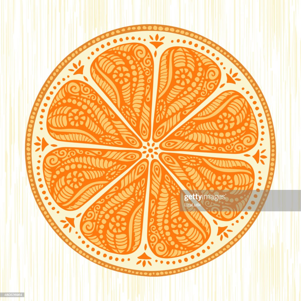 Stylized Hand Drawn Orange Illustration : Vectorkunst