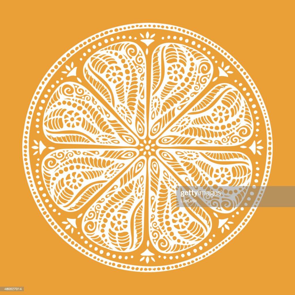 Stilizzato disegno a mano illustrazione Arancio : Arte vettoriale