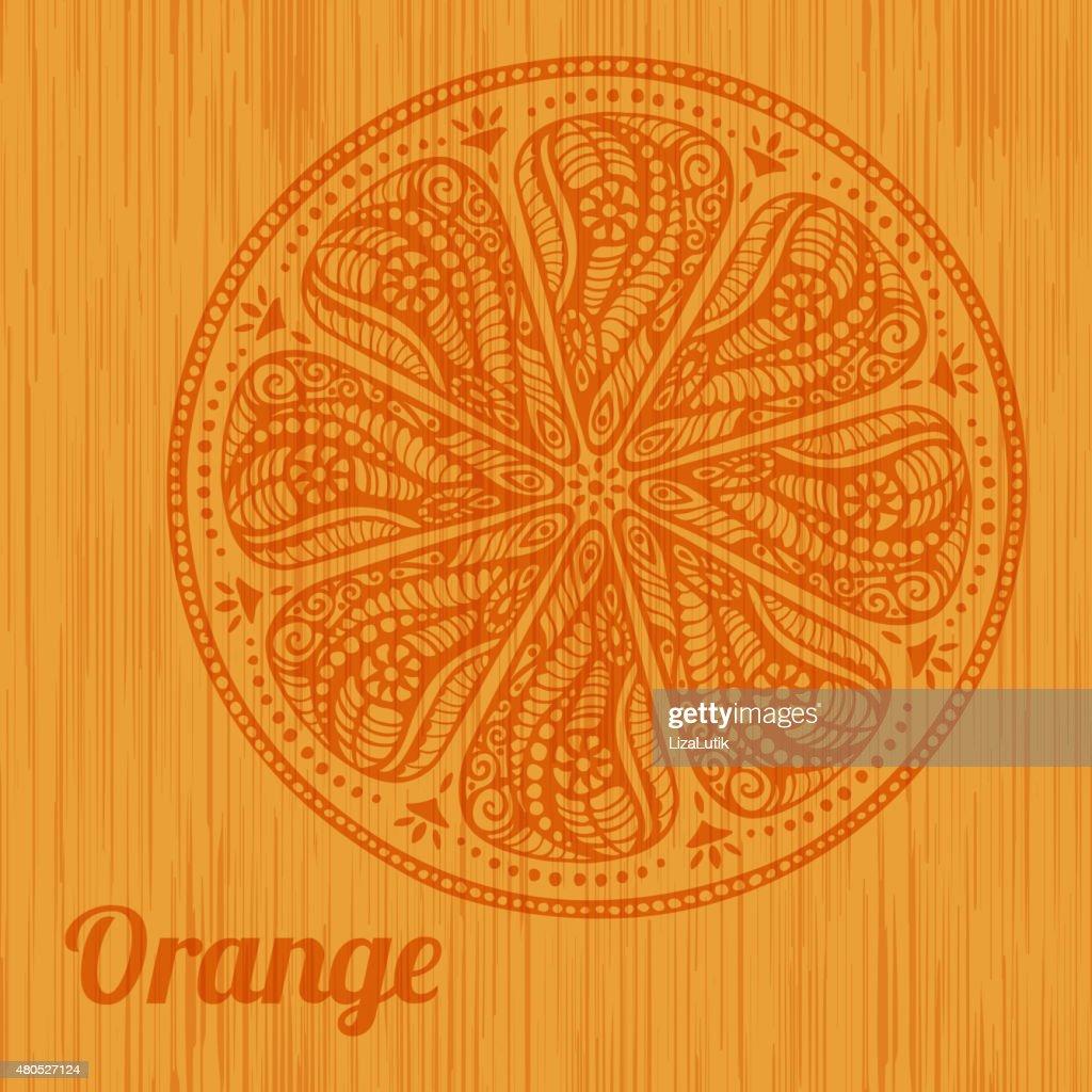 Stylized Hand Drawn Orange Illustration : Vector Art
