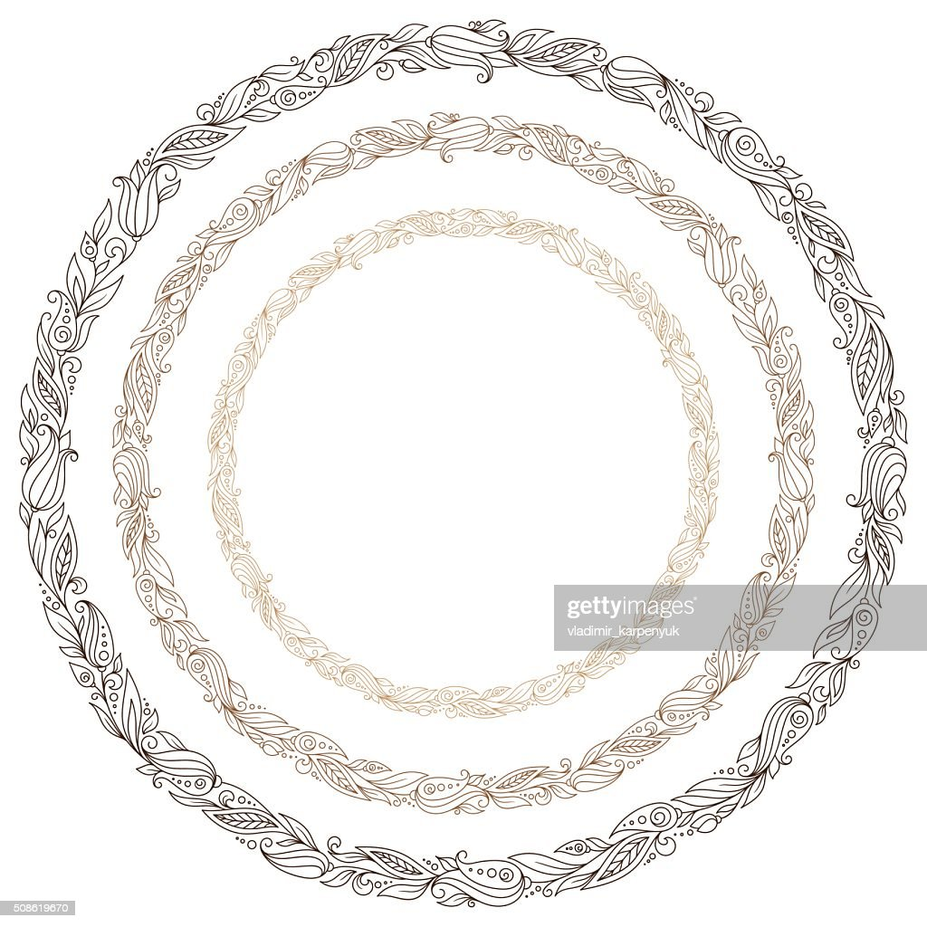 Stylized hand drawn wreath with flowers : Vector Art