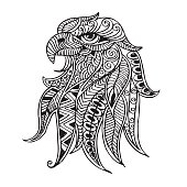 stylized head of eagle. Hand Drawn doodle vector illustration