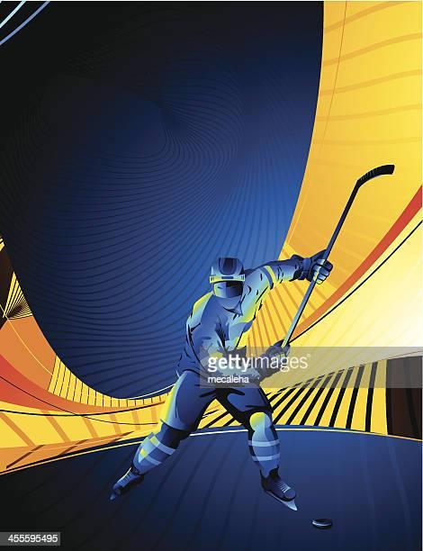 stylized hockey player on an orange and blue background - ice hockey uniform stock illustrations