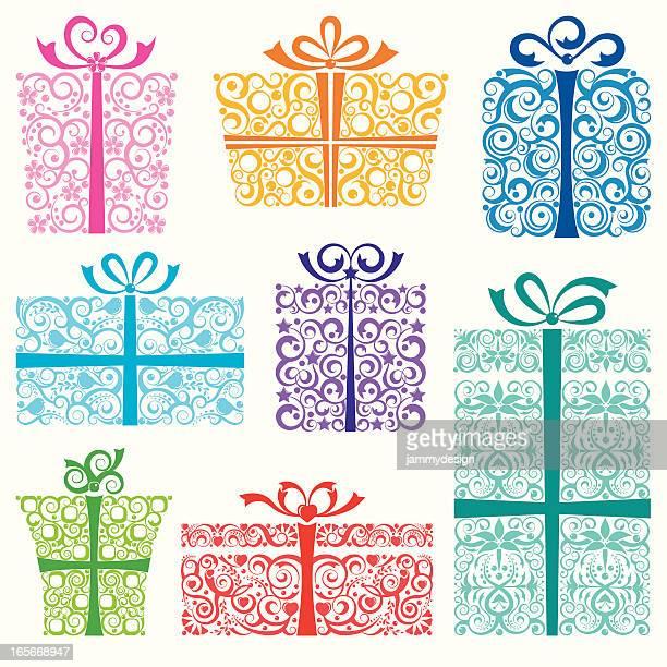 スタイリッシュなホリデーギフト - 誕生日の贈り物点のイラスト素材/クリップアート素材/マンガ素材/アイコン素材
