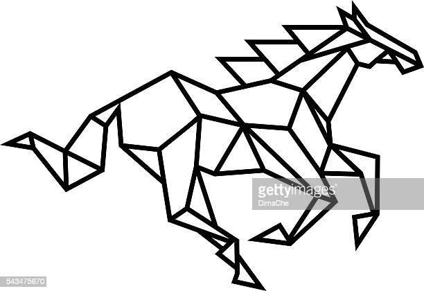 ilustrações, clipart, desenhos animados e ícones de stylized horse - animal mane