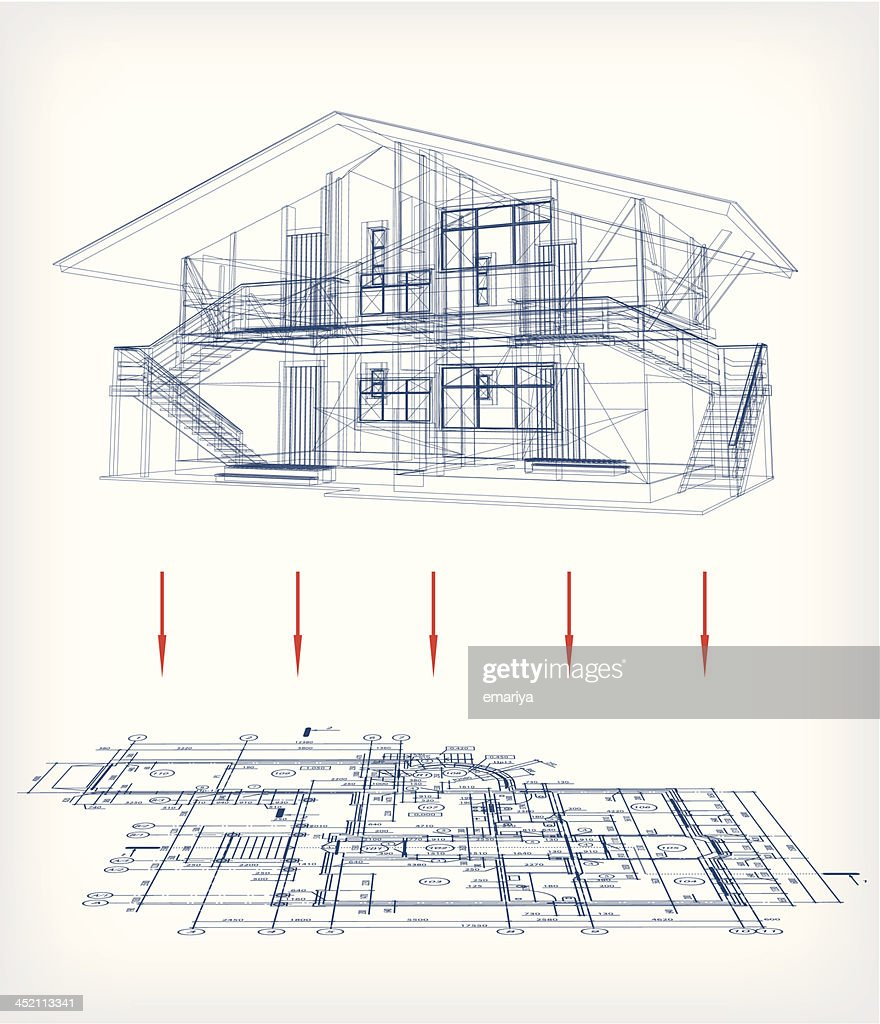 Stylized House Model With Floor Plan Vector Vector Art | Getty Images