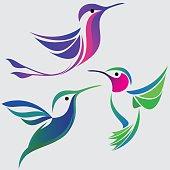 Stylized hummingbirds set