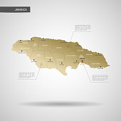 Stylized Jamaica map vector illustration.