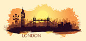 Stylized landscape of London with a with big Ben, tower bridge and other attractions. Abstract skyline at sunset with spots and splashes of paint