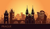 Stylized landscape of Prague with the main sights at sunset. Vector illustration
