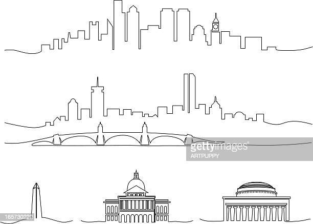 stylized line drawing of boston - bunker hill monument stock illustrations