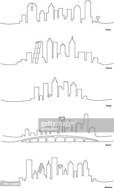 ilustrações, clipart, desenhos animados e ícones de estilizado desenhos unifilares de cidades americanas - atlanta