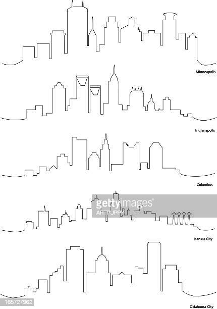 stylized line drawings of american cities - indianapolis stock illustrations, clip art, cartoons, & icons