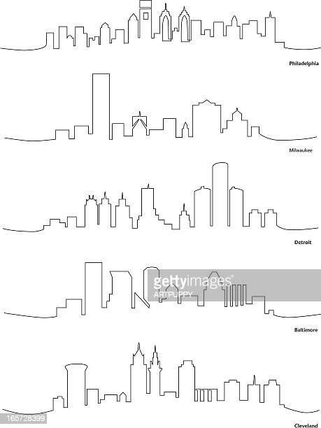 Stylized Line Drawings of American Cities
