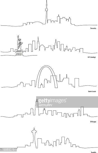Stylized Line Drawings of North American Cities