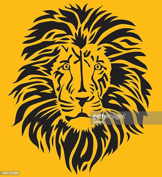stylized lion head - animal mane stock illustrations, clip art, cartoons, & icons