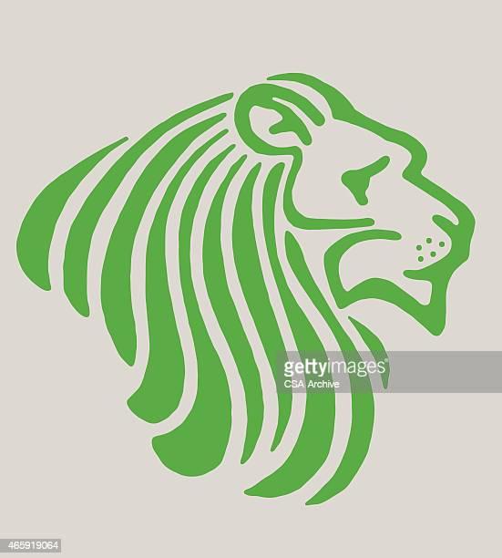 stylized lion - animal mane stock illustrations, clip art, cartoons, & icons