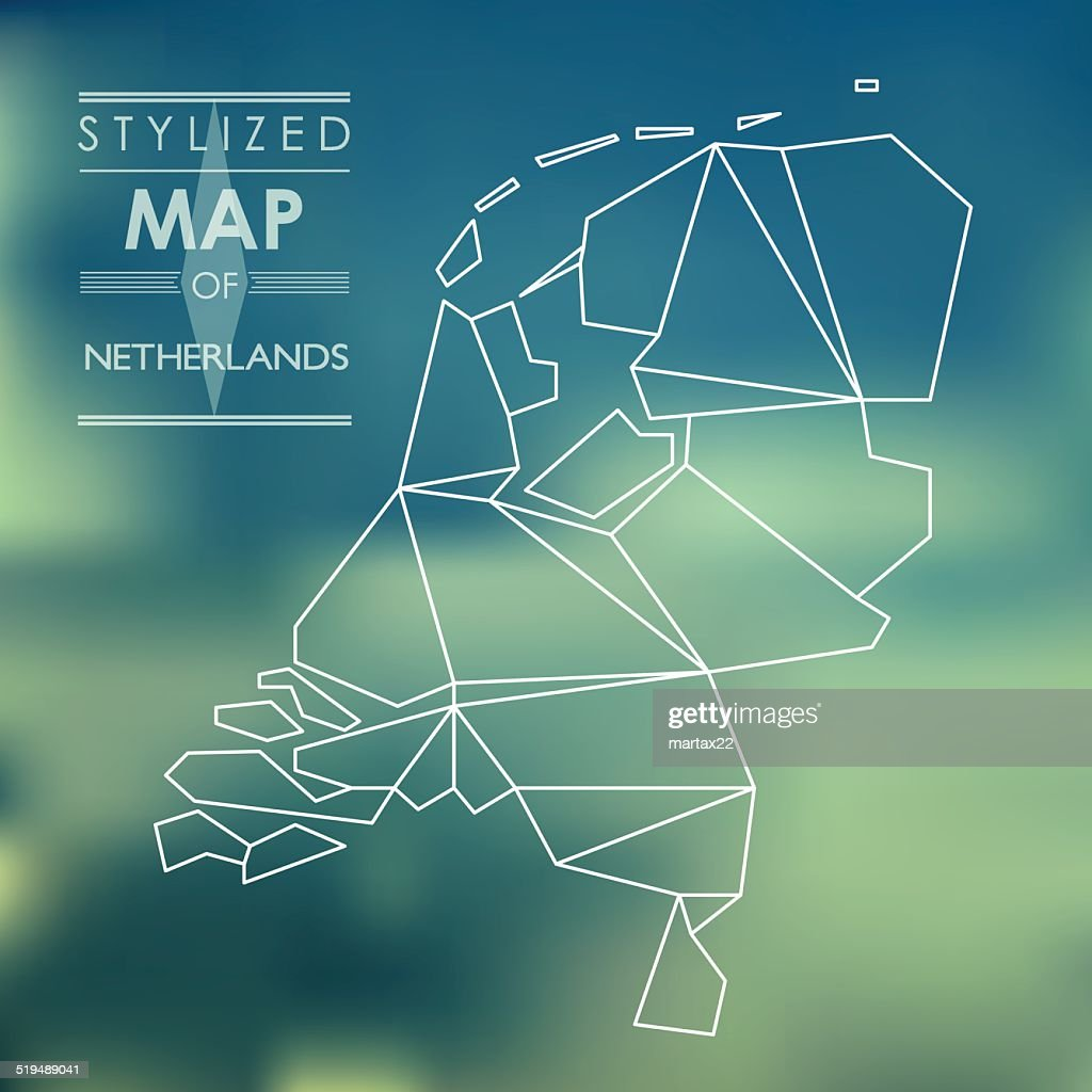 stylized map of Netherlands