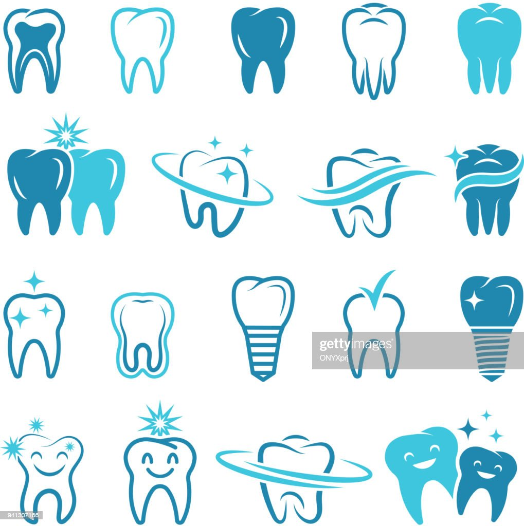 Stylized monochrome pictures of teeth. Dental concept illustrations for logos