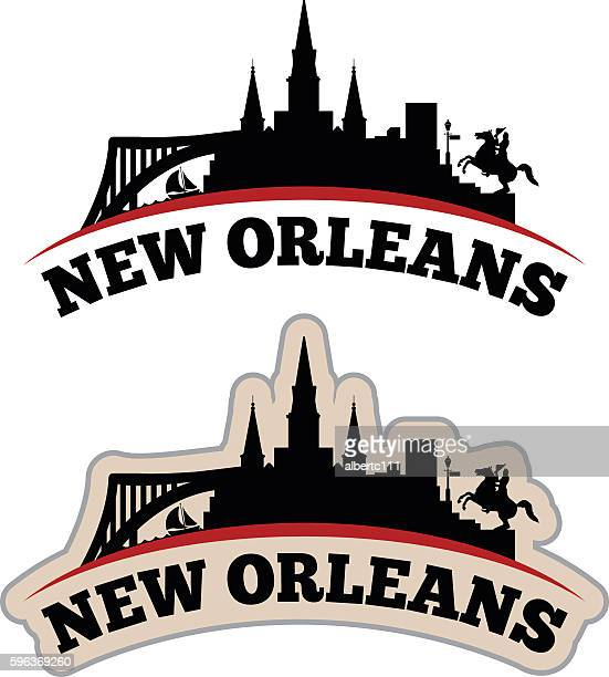 stylized new orleans cityscape graphic - new orleans stock illustrations, clip art, cartoons, & icons
