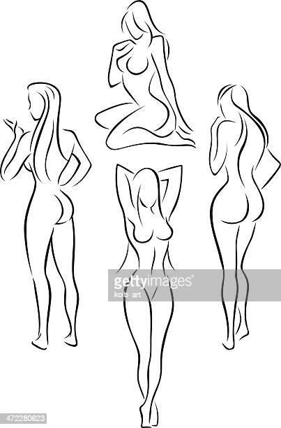 ilustraciones, imágenes clip art, dibujos animados e iconos de stock de hermoso mujer desnuda cifras 3 - mujer desnuda