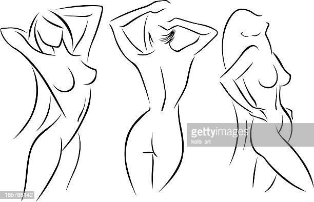 illustrazioni stock, clip art, cartoni animati e icone di tendenza di stilizzato nudo femmina figure 5 - donna nuda