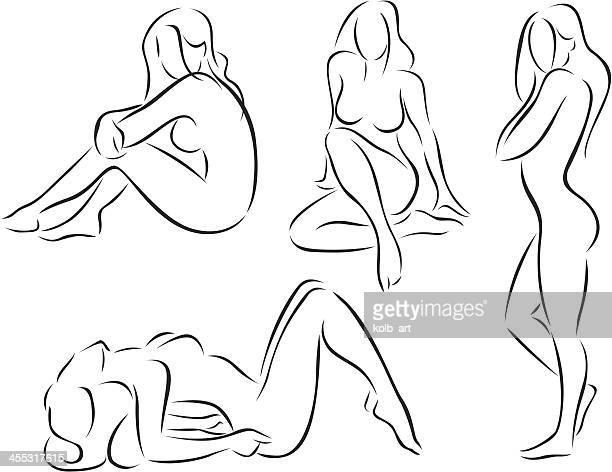 illustrazioni stock, clip art, cartoni animati e icone di tendenza di stilizzato figure nude femmina - donna nuda