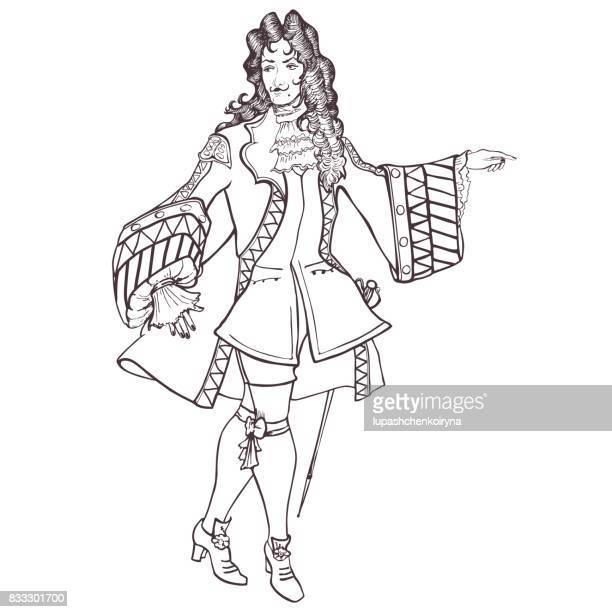 stilisierte umriss porträt eines aristokraten des barock - perücke stock-grafiken, -clipart, -cartoons und -symbole