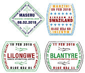 Stylized passport stamps in vector format.