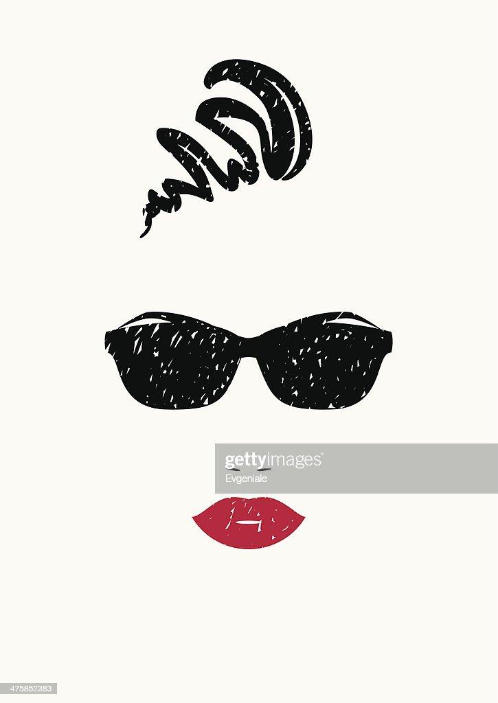 Stylized portrait of beautiful woman in black sunglasses.