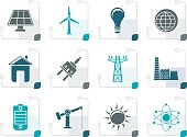 Stylized power, energy and electricity icons