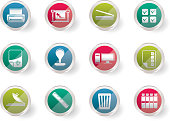 Stylized Print industry Icons over colored background