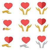 Stylized red heart on hands man and woman, vector icons