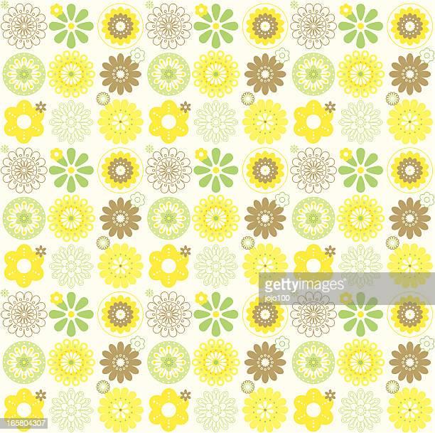 Stilisierte Retro-Blumen in eine nahtlose wiederholen Muster