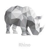 Stylized rhino isolated on a white background. Made in low poly triangular style. Vector.