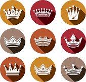 Stylized royal 3d design elements, set of king crowns. Majestic