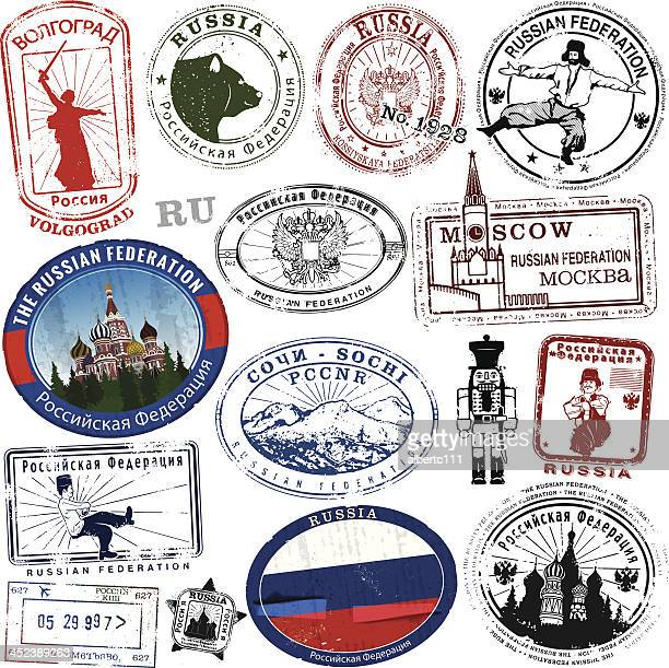 stylized russian stamps and decals - russia stock illustrations