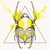 stylized Scarab Beetle in triangle frame with watercol