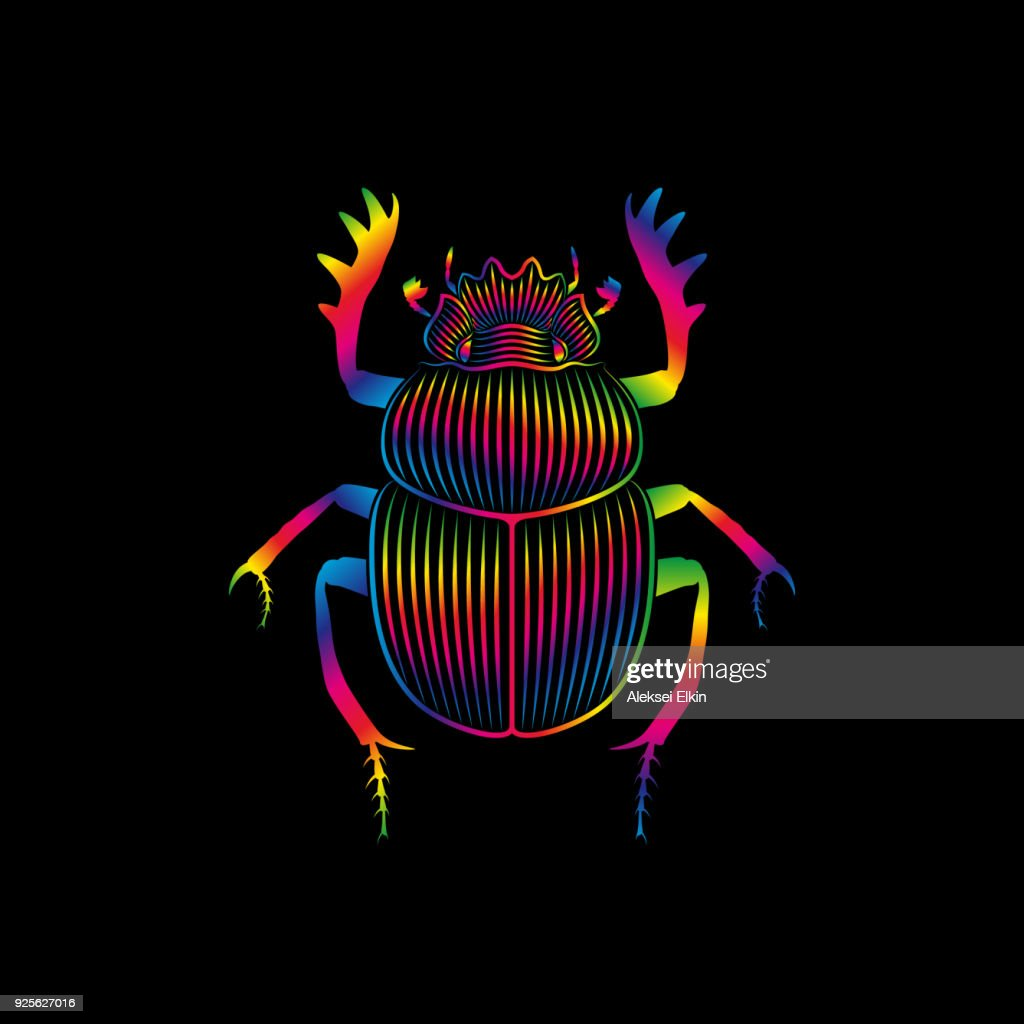Stylized scarab in spectrum colors on black background