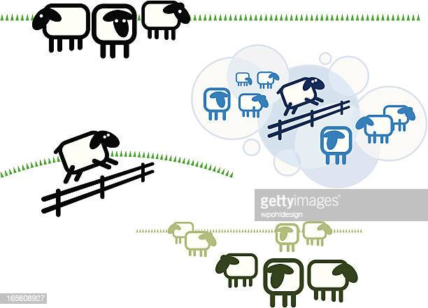 stylized sheep icon - sheep stock illustrations, clip art, cartoons, & icons