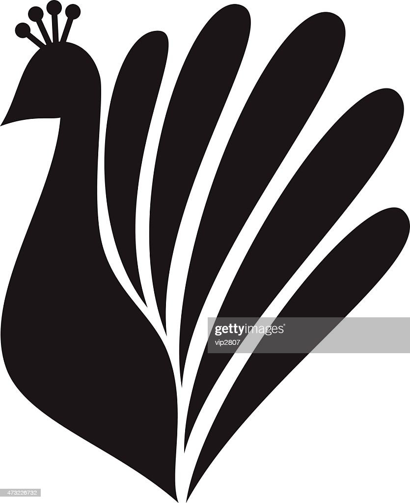 Stylized silhouette of a peacock