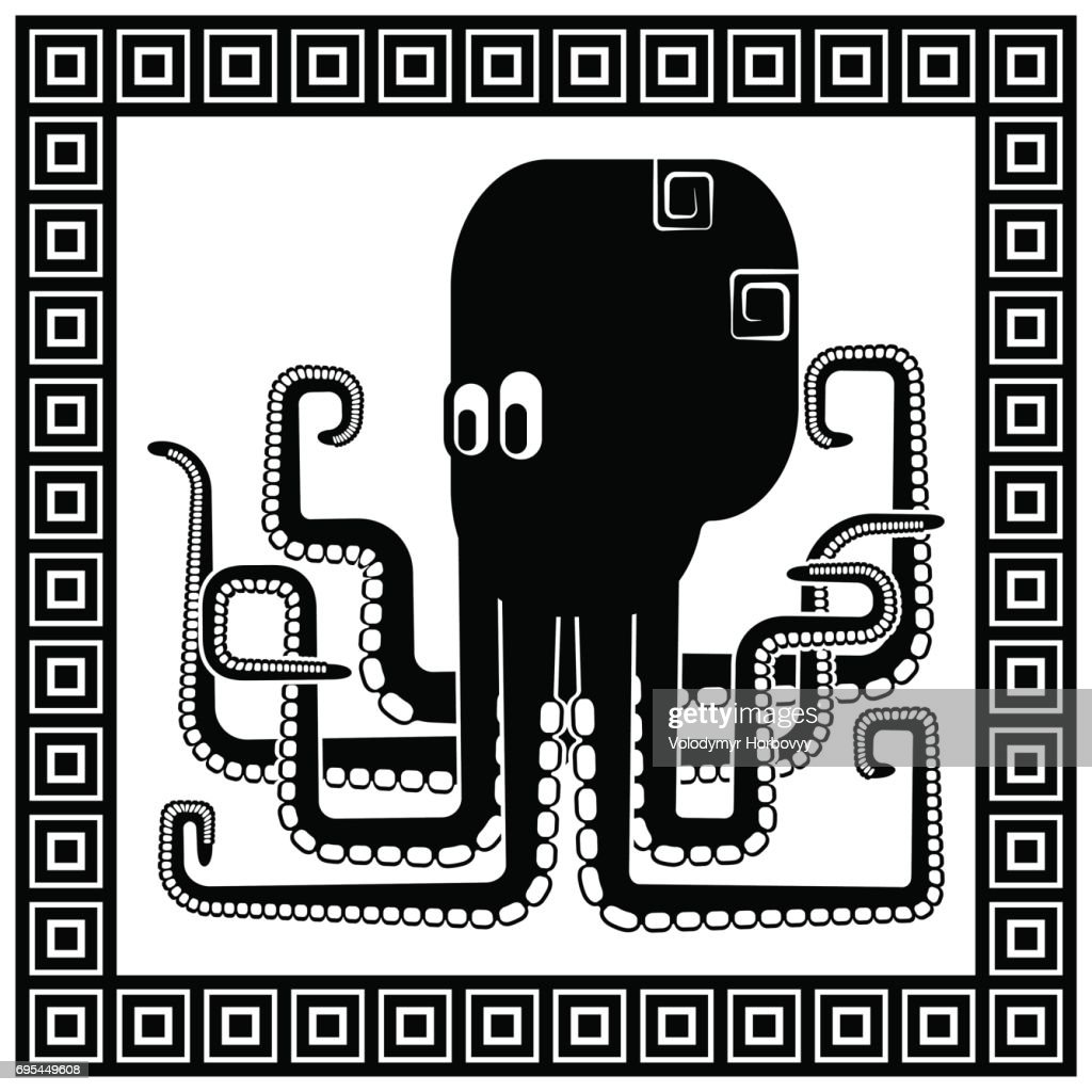 Stylized silhouette of an octopus