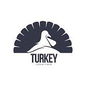 Stylized simplified turkey silhouette graphic logo template